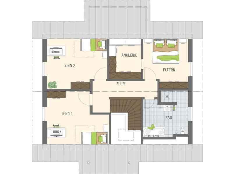 Grundriss Dachgeschoss Entwurf Juno von Fingerhaus