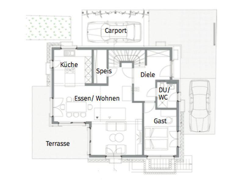 Grundriss Erdgeschoss Entwurf Weinberg von Fertighaus Weiss