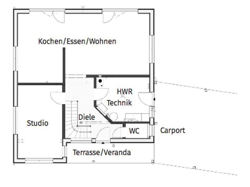Grundriss Erdgeschoss Entwurf Blauraute von Stommel Haus
