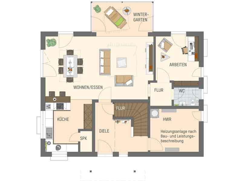 Grundriss Erdgeschoss Entwurf Juno von Fingerhaus