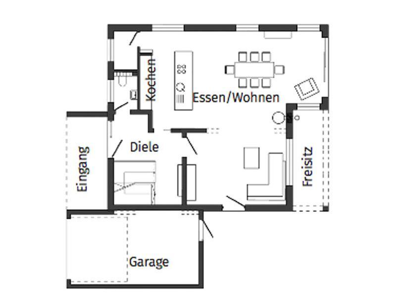 Grundriss Erdgeschoss Kundenhaus Rimsa von Schwörerhaus