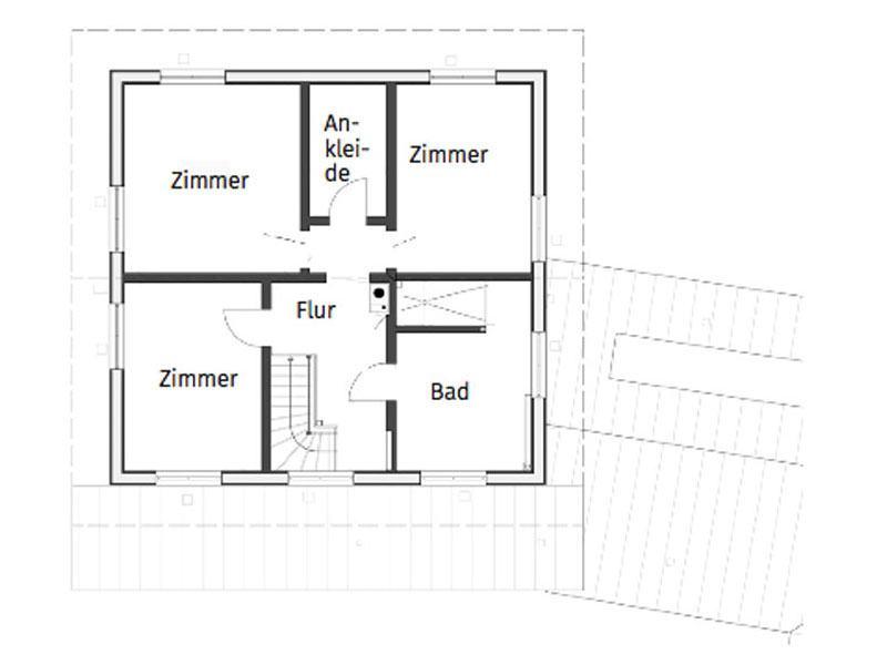 Grundriss Obergeschoss Entwurf Blauraute von Stommel Haus