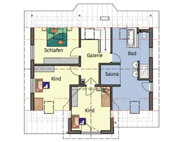 Grundriss Obergeschoss Entwurf Schneider von Büdenbender Hausbau