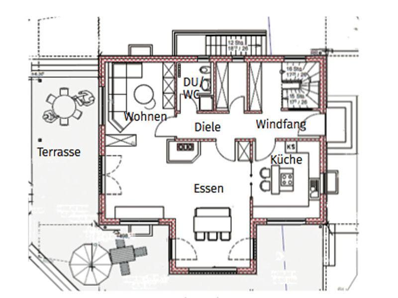 Grundriss Erdgeschoss Blockhaus Salzburg von Chiemgauer Holzhaus