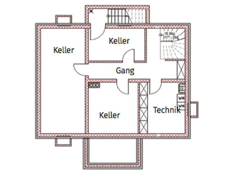 Grundriss Untergeschoss Blockhaus Salzburg von Chiemgauer Holzhaus