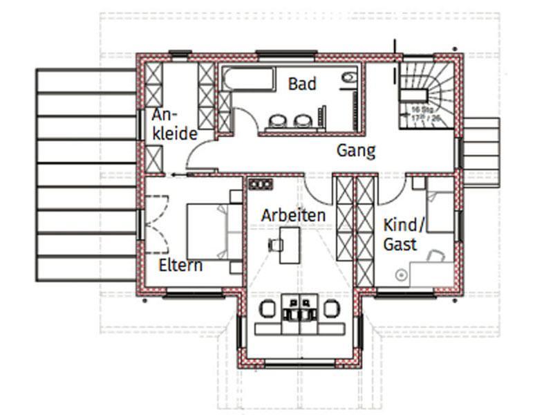 Grundriss Obergeschoss Blockhaus Salzburg von Chiemgauer Holzhaus