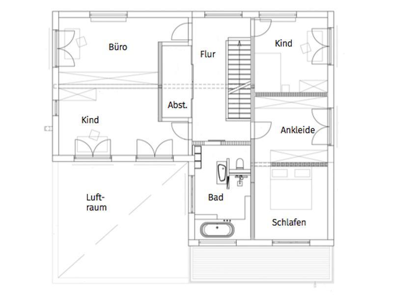Grundriss Obergeschoss Entwurf Pultdach Klassik 265 von Luxhaus