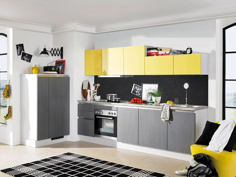 Kueche-Grau-Gelb