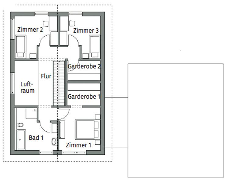 Grundriss Obergeschoss Entwurf Privat 198 von Danwood