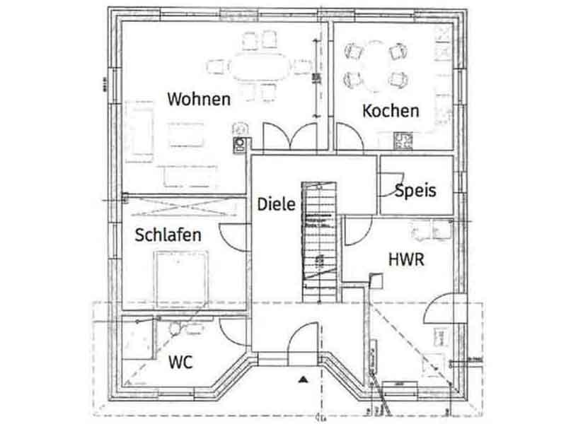 Grundriss Erdgeschoss Entwurf Lugana von Roth Massivhaus