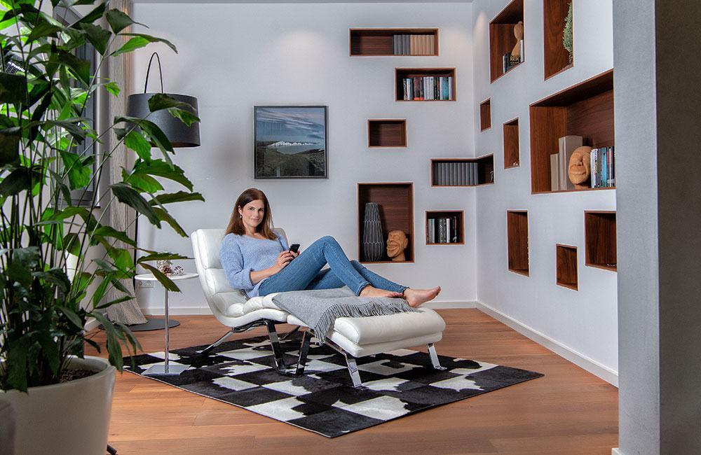 Tolle Idee! Ein Relax-Wohlfühlraum: zum Lesen, Träumen, Musik hören oder entspannten Telefonieren. WeberHaus/World of Living