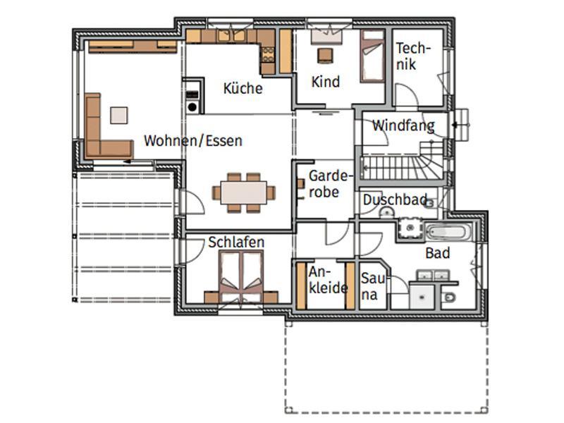 Grundriss Erdgeschoss Musterhaus Silkeborg von Danhaus