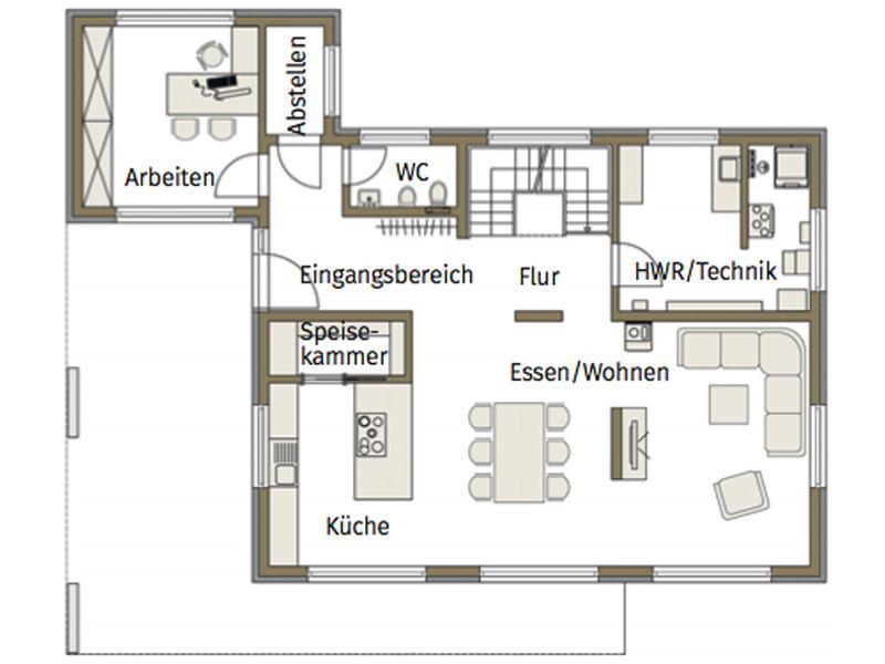Grundriss Erdgeschoss Musterhaus Guenzburg von Fertighaus Weiss