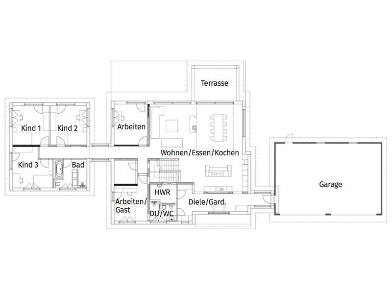 Grundriss Erdgeschoss Entwurf Flachdach 300 von Luxhaus