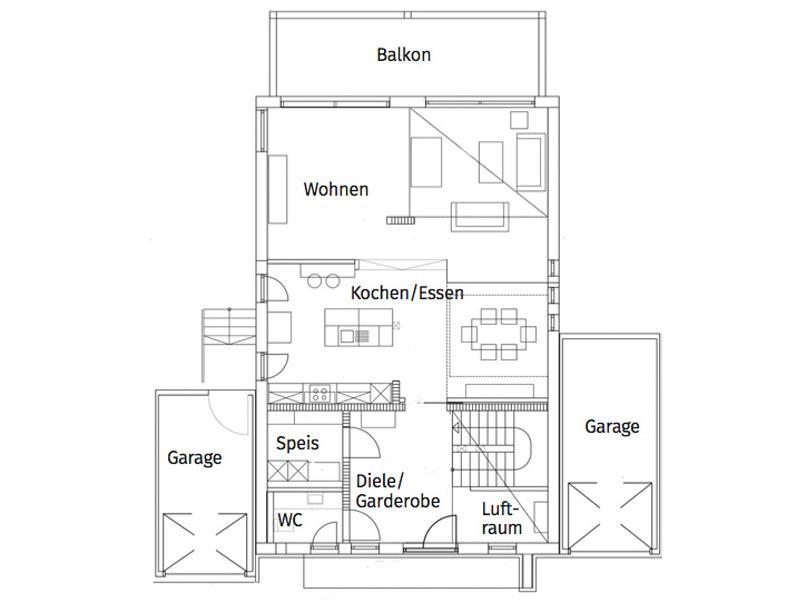 Grundriss Erdgeschoss Entwurf Landhaus 165 von Luxhaus