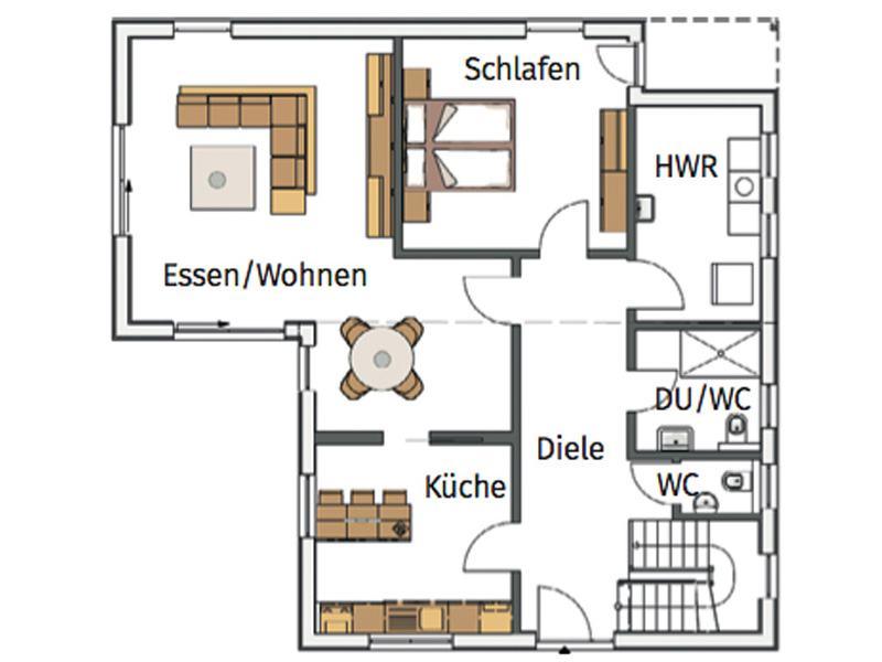 Grundriss Erdgeschoss Entwurf Flieder von Stommel Haus
