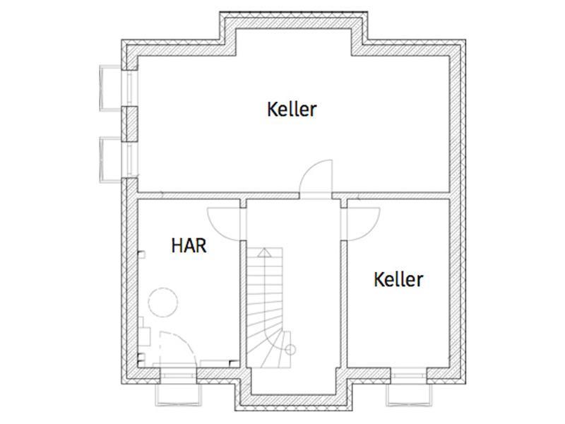 Grundriss Kellergeschoss Entwurf Lugana Berlin von Roth Massivhaus