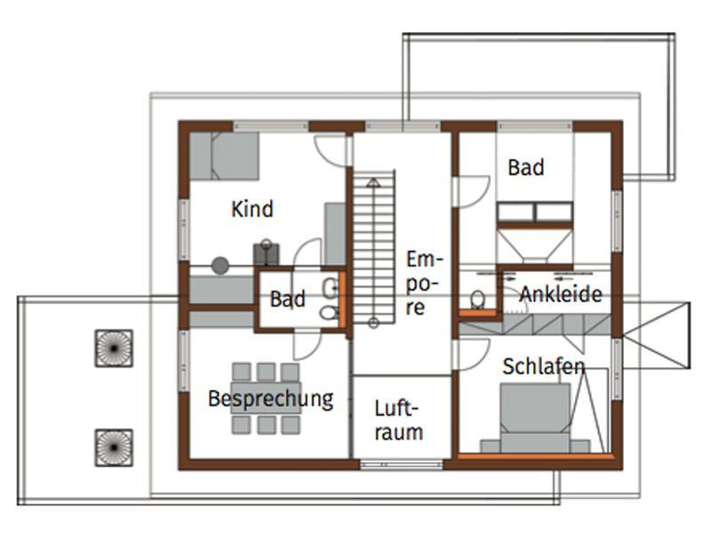 Grundriss Obergeschoss Musterhaus Fellbach von Bittermann und Weiss
