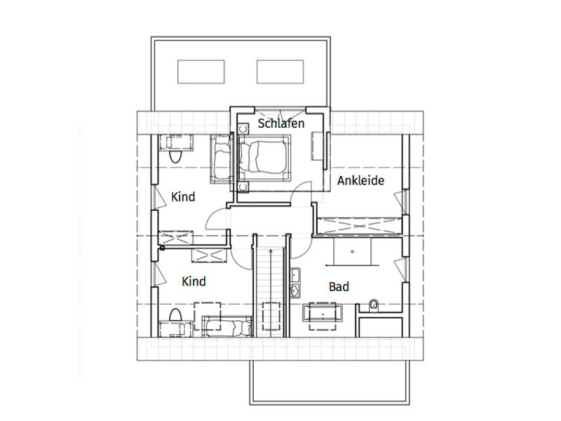 Haus Burgmann von Büdenbender Hausbau. Grundriss Obergeschoss