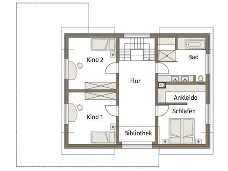Grundriss Obergeschoss Musterhaus Guenzburg von Fertighaus Weiss