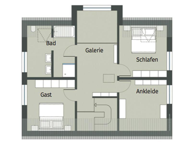 Grundriss Obergeschoss Haus Erlenbrunn von Gussek Haus