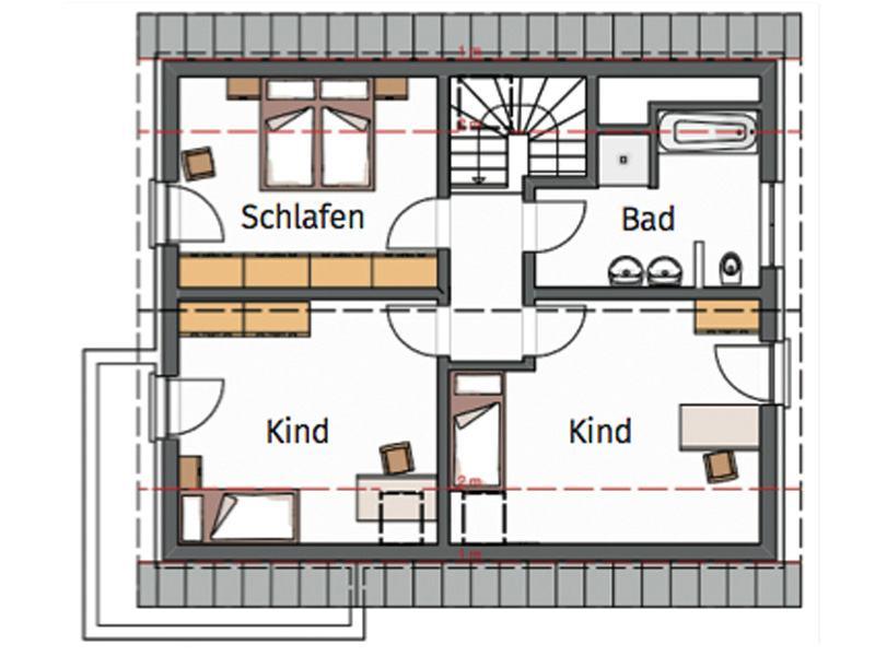 Grundriss Obergeschoss Entwurf Creativ 152 von Rötzer Ziegel-Element-Haus