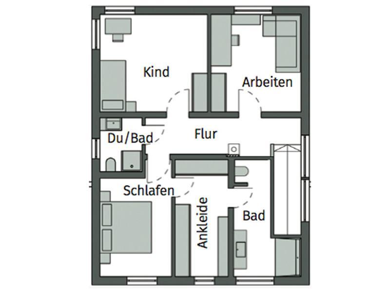 Grundriss Obergeschoss Kundenhaus Böger von Schwörerhaus