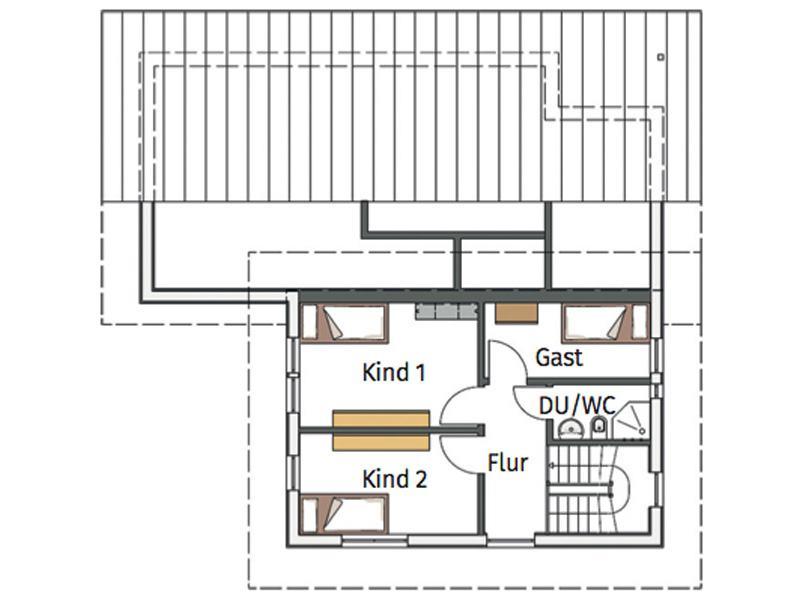 Grundriss Obergeschoss Entwurf Flieder von Stommel Haus