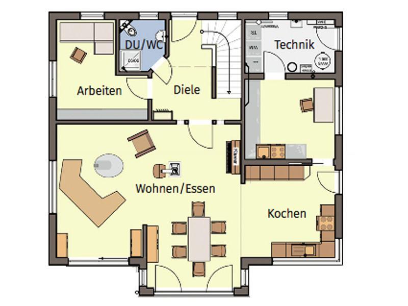 Grundriss Erdgeschoss Entwurf Schneider von Büdenbender Hausbau