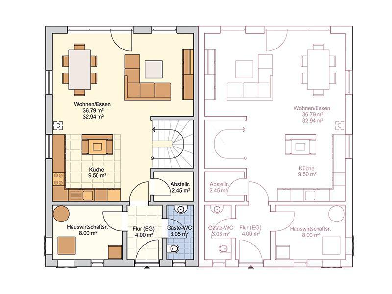 Grundriss Erdgeschoss Entwurf Duett 175 von Fingerhut Haus