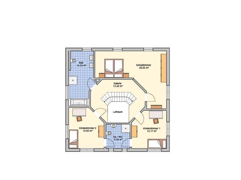 Grundriss Obergeschoss Entwurf Klara von Fingerhut Haus