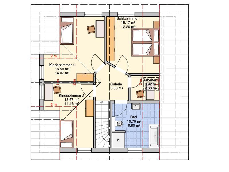 Grundriss Dachgeschoss Entwurf Lando von Fingerhut Haus