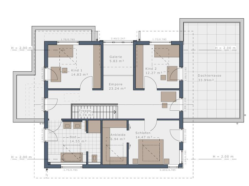 Grundriss Dachgeschoss E 160 Fellbach von Schwabenhaus