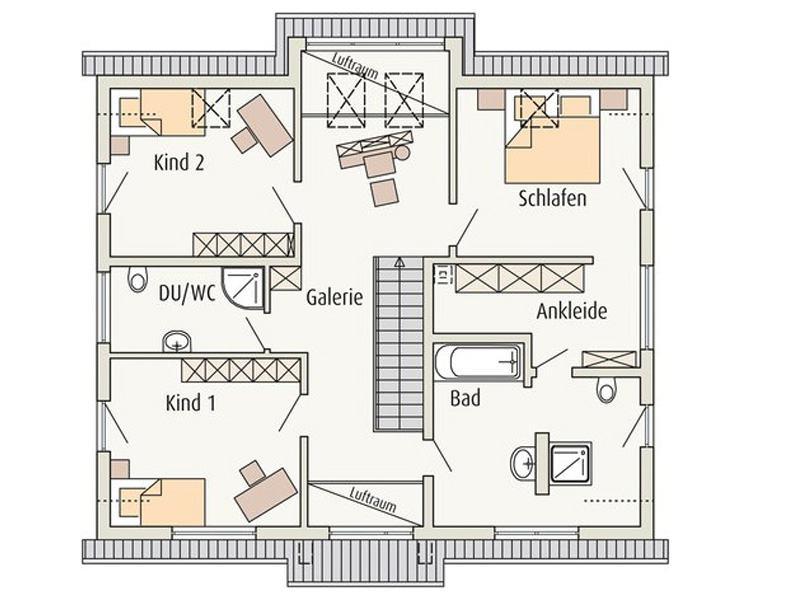 Grundriss Obergeschoss Musterhaus Erlangen von Fingerhuthaus