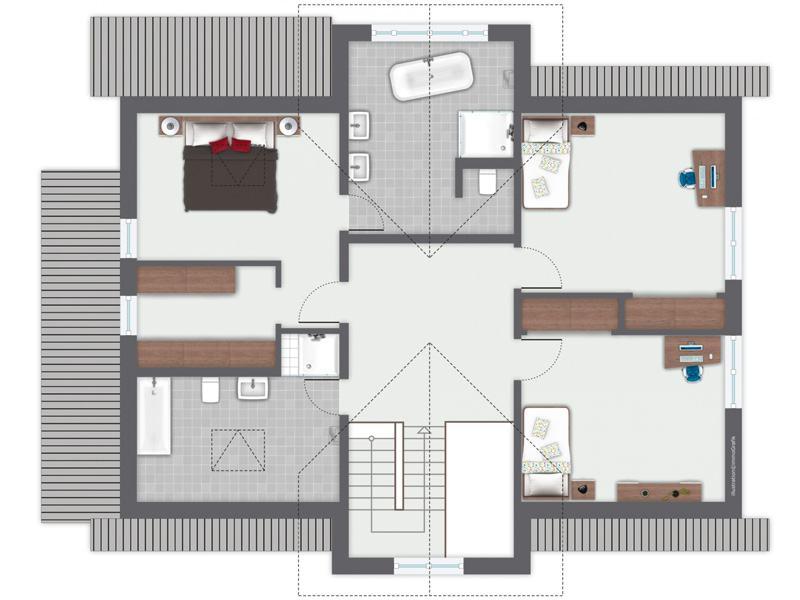 Grundriss Obergeschoss Entwurf Siebenbrunn von Gussek Haus