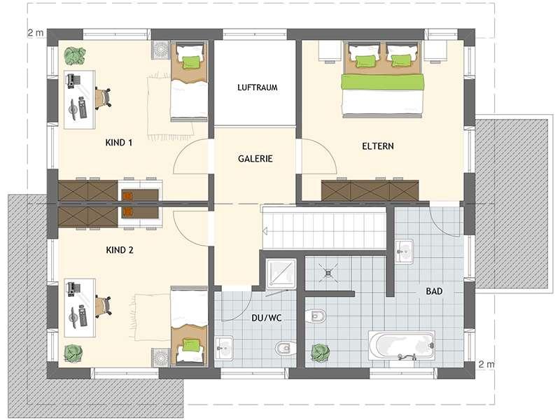 Grundriss Dachgeschoss Musterhaus NEO 300 Hannover von Fingerhaus