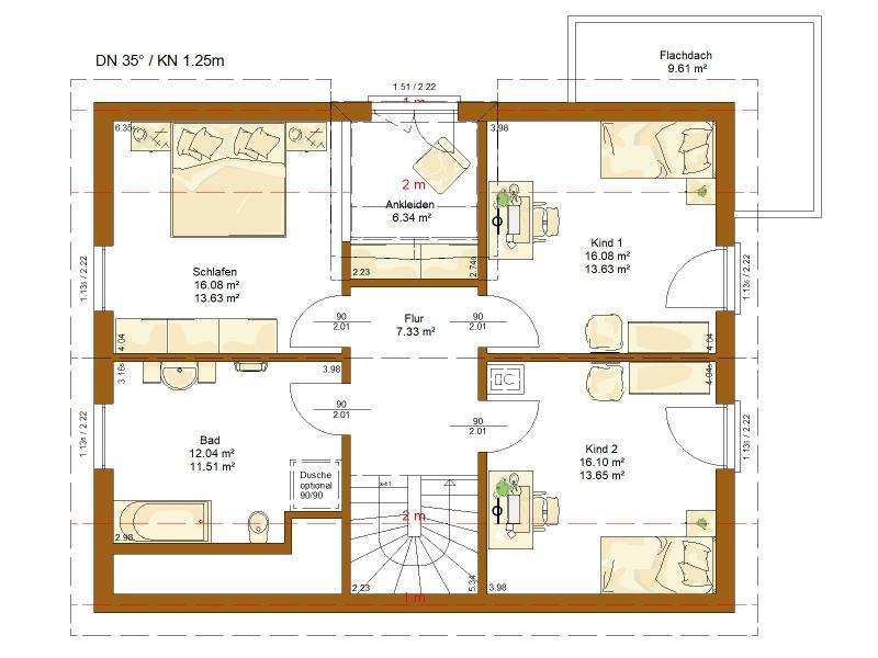Grundriss Obergeschoss Entwurf Clou 156 von Rensch Haus