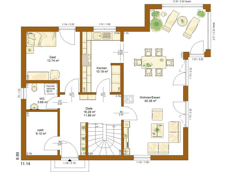 Grundriss Erdgeschoss Entwurf Clou 156 von Rensch Haus