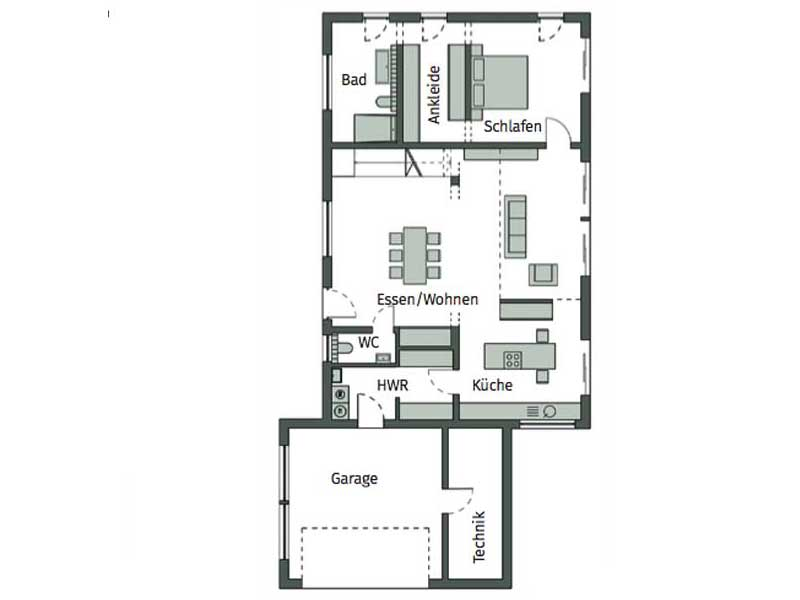 Grundriss Erdgeschoss Kundenhaus Sonigo von Schwörerhaus
