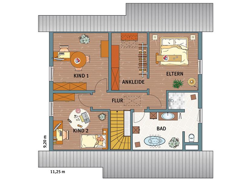 Grundriss Dachgeschoss Musterhaus VIO 400 in Köln von Fingerhaus
