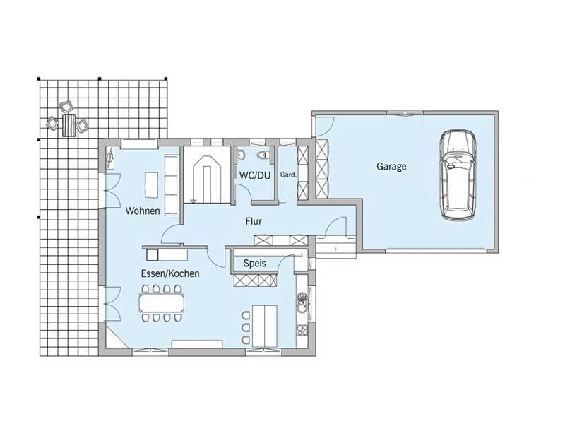 Grundriss Erdgeschoss Haus Bongart von Baufritz