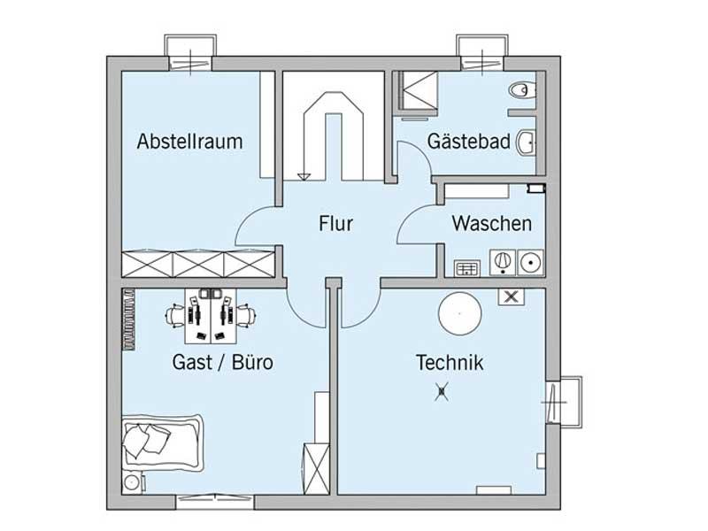 Grundriss Kellergeschoss Haus Bongart von Baufritz