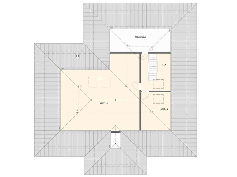 Grundriss Dachgeschoss frei geplant komfortables Wohnen von Fingerhaus