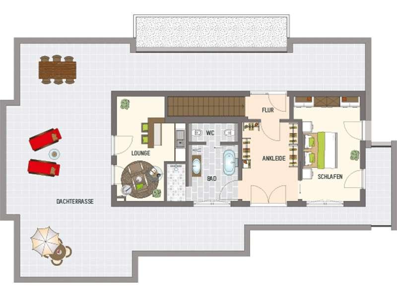 Grundriss Obergeschoss Mehrgenerationenhaus der Extraklasse von Fingerhaus
