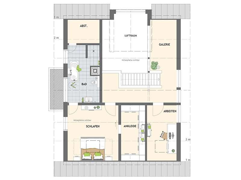 Grundriss Dachgeschoss frei geplantes Kundenhaus von Fingerhaus