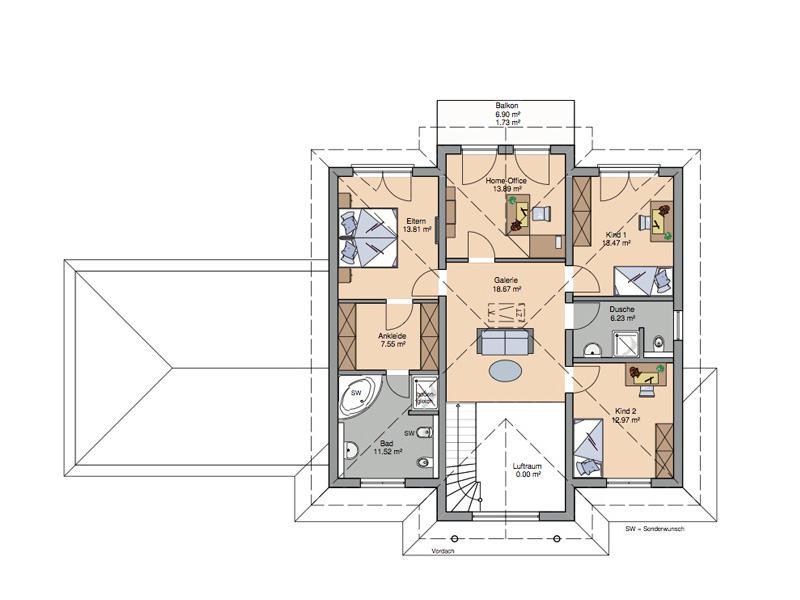 Grundriss Obergeschoss Stadtvilla Aurelio von Kern-Haus