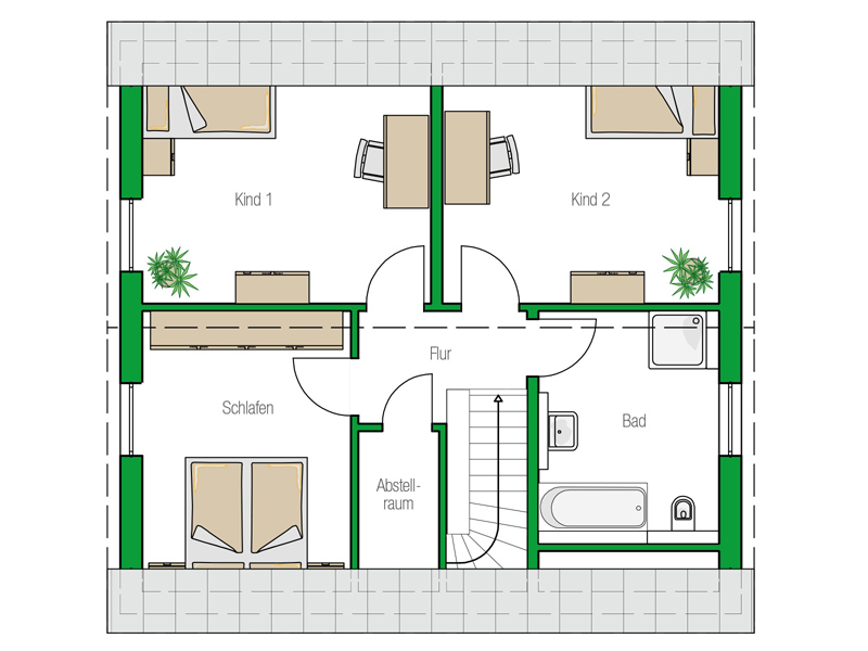 Einfamilienhaus Davos von Helma. Grundriss Obergeschoss