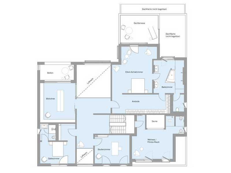Grundriss Floor 1 Haus Woloszczuk von Baufritz