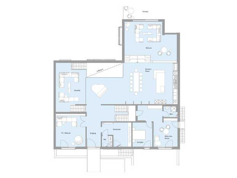 Grundriss Kellergeschoss Haus Woloszczuk von Baufritz