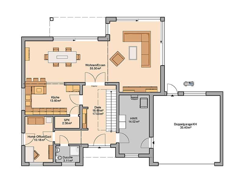 Grundriss Erdgeschoss Entwurf Anteo von Kern-Haus